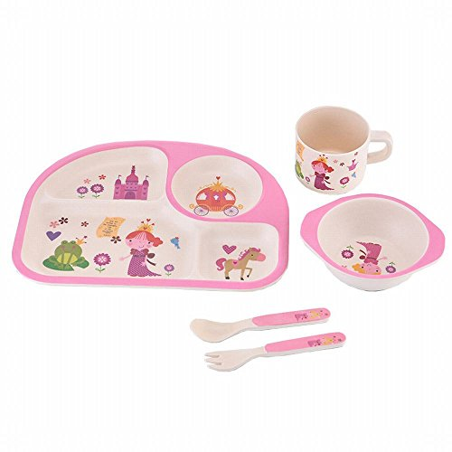 (MKKM Children 'S Plate Bamboo Fiber Points Baby Cartoon Baby Cutlery Set Food Bowl Spoon Fork Spoon Cup Non-Toxic 5 Sets,rose Red)