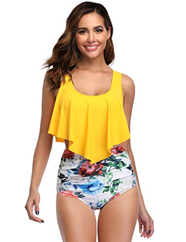 MARINAVIDA Swimsuit for Women Two Pieces Bathing Suits Top Ruffled Racerback with High Waisted Bottom Tankini Set Yellow