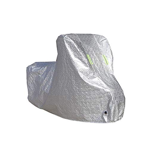ZZKJTANGYMTT Motorcycle Covers for Outside Storage, Scooter Car Cover, Electric Car Battery Sun Protection, Rain Cover, Car Cover Sunshade, Cover Cloth, Thickening, Dust Cover,Silver-XL