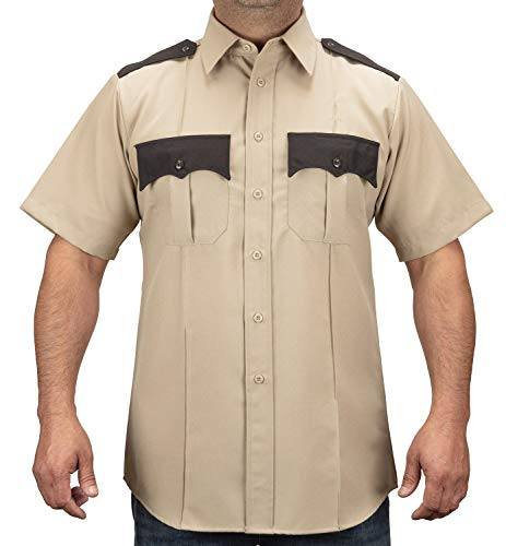 (First Class 100% Polyester Two Tone Short Sleeve Shirt (2XL, Tan &)