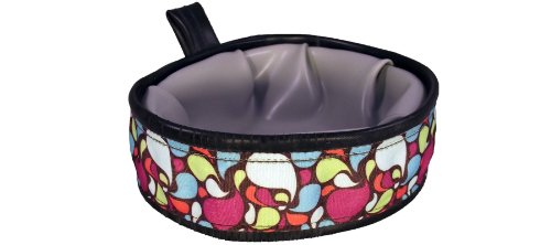 Cycle Dog Trail Buddy Collapsible Dog Travel Bowl, Brown Base Lava Lamp, 22-Ounce For Sale
