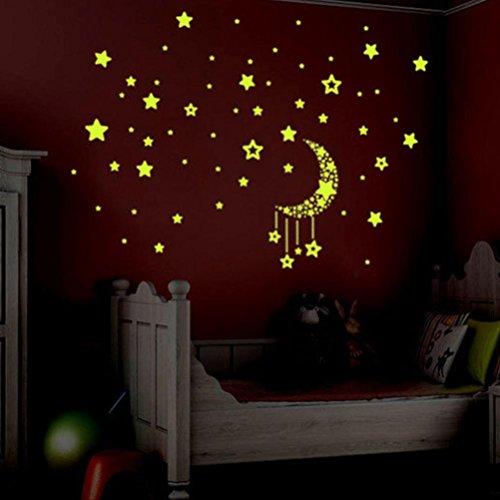 photno a set kids bedroom fluorescent glow in the dark stars wall