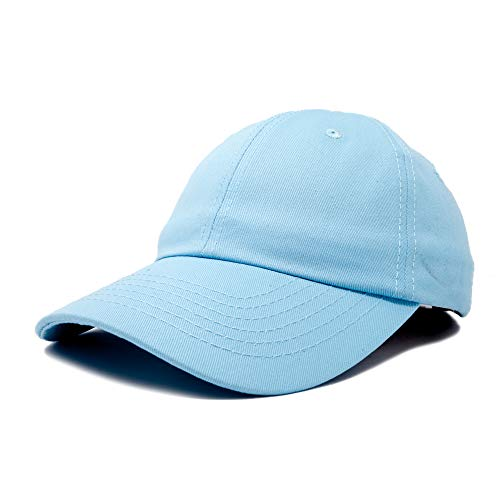 Dalix Unisex Unstructured Cotton Cap Adjustable Plain Hat, Light Blue