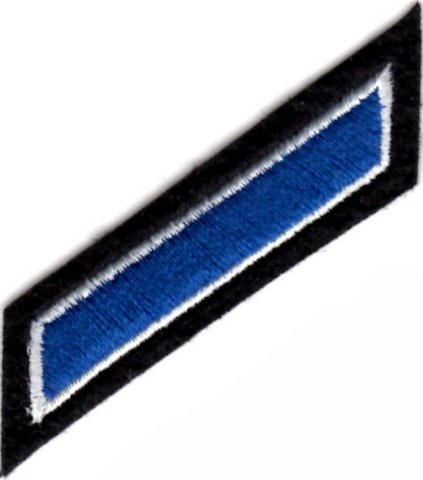 Uniform Service Hash Marks - Royal-White on Black Felt Backing - 1 Hash by EMBROIDERED UNIFORM PATCHES & EMBLEMS (Image #1)