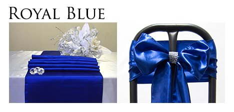 Perfectmaze Satin Party Combo Kit 5 Table Runner / 25 Chair Sash Bow for Wedding Party Event Decoration_Royal Blue