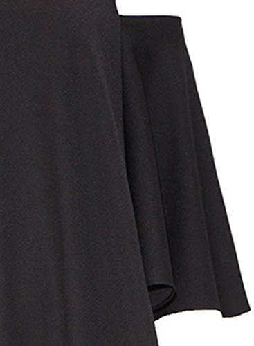 Azbro Mujer Vestido Mini A-línea Mangas 3/4 Fuera de Hombro Estampado Floral Negro