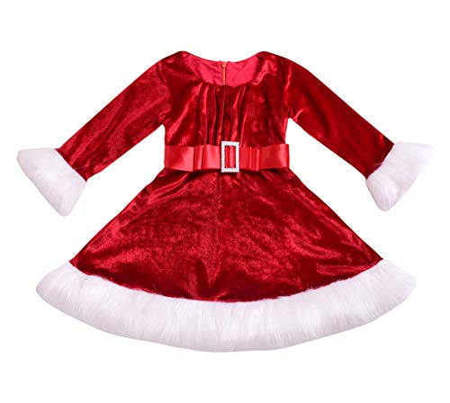 Younger star Baby Girls Princess Dress Red Plaid Long Sleeve Christmas Playwear (Red, 3-4T) -