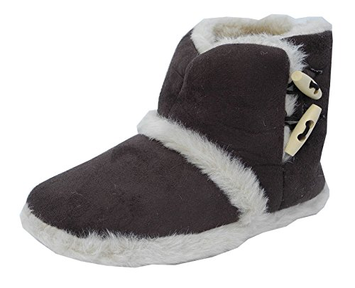 Slippers Ladies Womens Brown Bootie Fur Micro Boots Suede Fluffy wwqxr10O