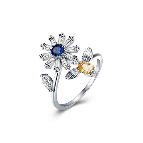 (Yoomarket Women's Blue Adjustable Rotating Ring Anti-Anxiety Open Flower and Bee Crystals Rings Spinning Rings Party Girls Birthday Gifts for Relieving Boredom ADHD, Anxiety,Autism)