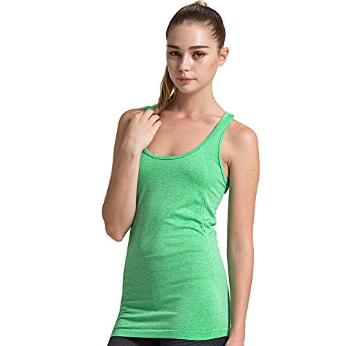 (Semath Womens Girls Stretch Ribbed Tank Tops A-shirt Basic Workout Camisole, Medium, 1 Pack-fluorescent Green)