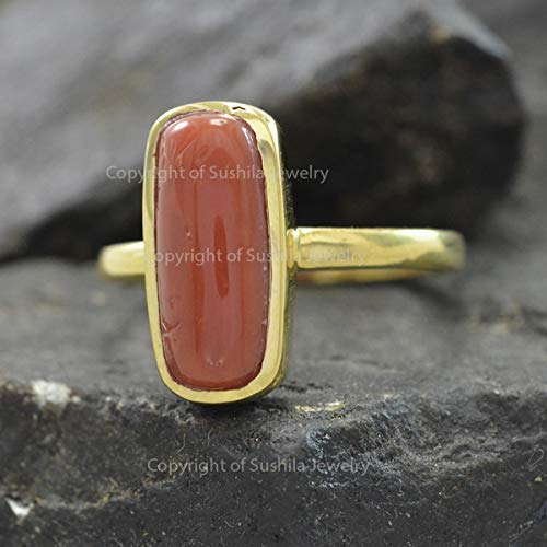 1.5 ct Real Coral 14k Solid Yellow/Rose/White Gold wt Gemstone Birthstone Ring fine Jewelry