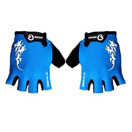medio negro dedo dedos Dedos Road Bicicleta guantes Mountain sin azul ciclista Zw0qz1