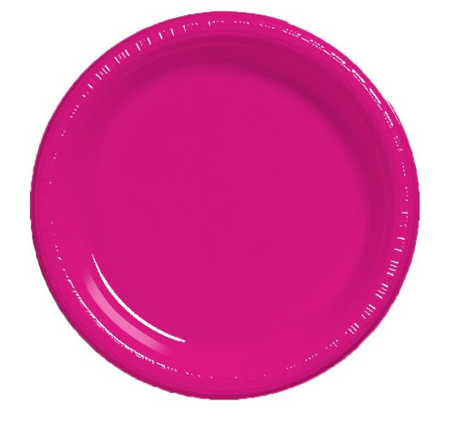 Creative Converting Touch of Color 20 Count Plastic Lunch Plates, Hot Magenta