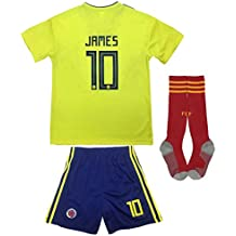 KID BOX Colombia 2018 JAMES Rodriguez #10 Home Soccer Kids Jersey & Short Set Youth Sizes