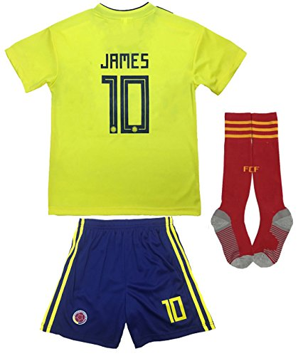 KID BOX Colombia 2018 James Rodriguez #10 Home Soccer Kids Jersey & Short Set Youth Sizes (Home, 11-12 Years)