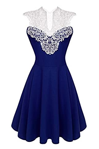 ACEVOG Women Sleeveless Lace Patchwork High Waist Pleated Party Cocktail Knee Length - Blue Patchwork Shorts