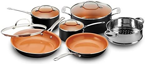 Gotham Steel 20 Piece All in One Kitchen Cookware Bakeware Set with Nonstick Durable Ceramic Copper Coating Includes Skillets, Stock Pots, Deep Square Fry Basket, Cookie Sheet and Baking Pans