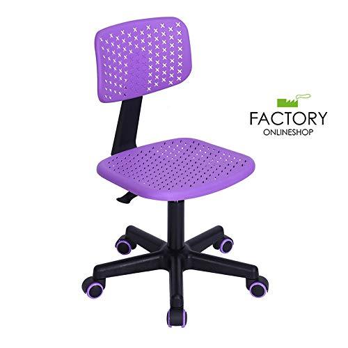 Geniqua Office Chair Purple Adjustable Swivel Plastic Rolling Wheels Kids Room Student ()