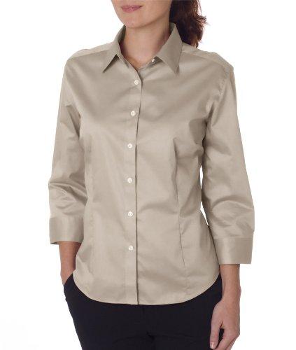 Van Heusen Womens 3/4-Sleeve Dress Twill (V0527)-Khaki,X-Large]()