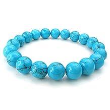 TEMEGO Jewelry Womens Mens Natural Stone Blue Turquoise Classic Beads Stretch Bracelet, Link Wrist Strand Bracelet, Blue Silver,10-12mm