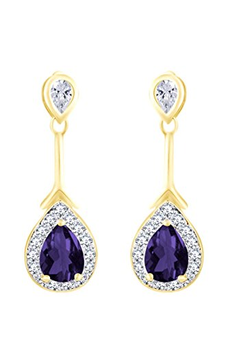 Gold Over Sterling Violet - 14k Yellow Gold Over Sterling Silver Simulated Violet Alexandrite & White CZ Teardrop Dangle Earrings