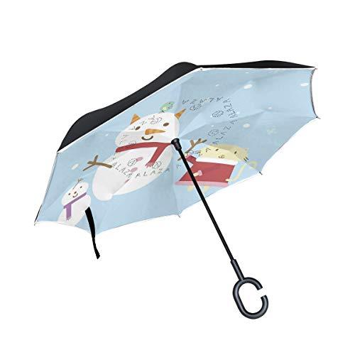 Reverse Umbrella Illustration Of Cartoon Cat Building Snowman Windproof for Car -