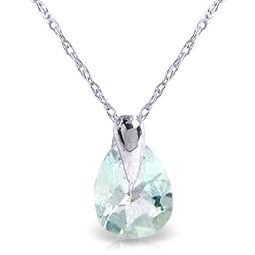 ALARRI 0.68 CTW 14K Solid White Gold Necklace Natural Aquamarine with 22 Inch Chain Length by ALARRI