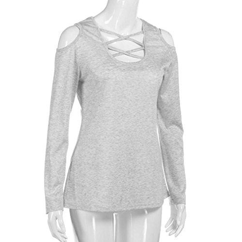 Grey Blusa Casual Adeshop Off maniche unita Camicia T Tinta ampia e a autunno Fashion Women Primavera Shoulder Chic Bandage lunghe shirt ORA6q