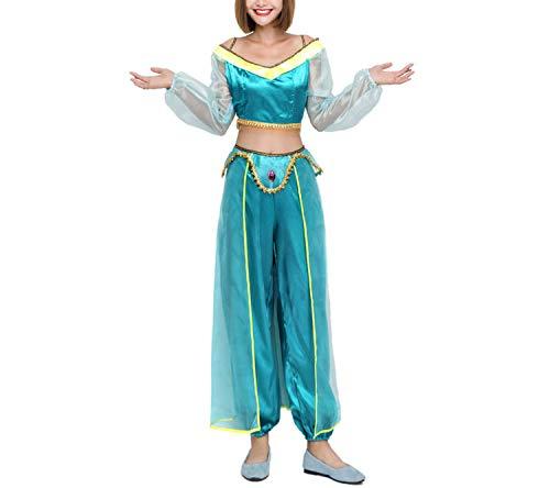 Aladdin Princess Jasmine Adult Kid Suit Cosplay Dress Costume Green for Halloween Christmas,Adult,S ()