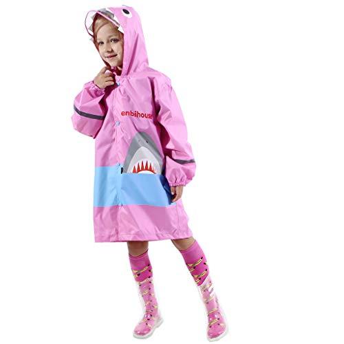 (Packaway Waterproof Jacket. Unisex Coat Ideal for Outside Play. Kids Raincoat Rain Slicker for Boys Girls Overtrousers Pink)