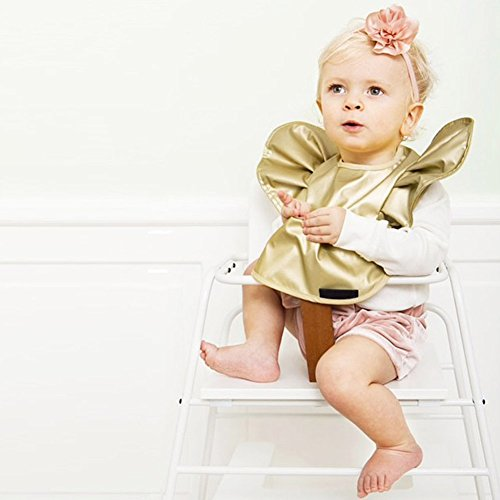 OLizee Soft Waterproof Baby Bibs for Girls Infant Toddler Easily Wipes Clean Fashion Princess Style, Gold