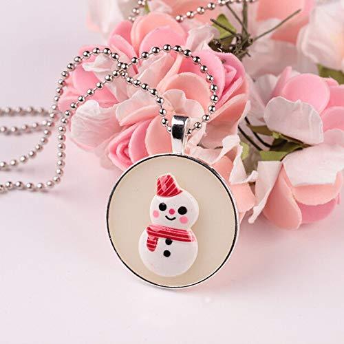 Noctilucent Christmas Cabochon Glass Art Pendant Necklace -