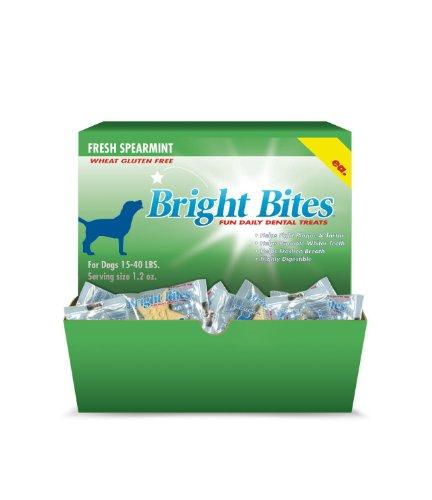 Bright Bites Daily Dental Dog Treats, Tasty Spearamint Small (4 Packs of 12 Treats), My Pet Supplies