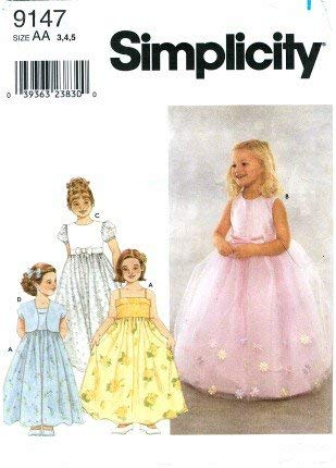 Simplicity 9147 Girls Sewing Pattern Dress & Bolero Jacket Size 3 - 5