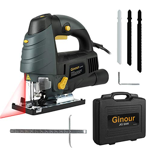 Ginour Variable Speed Orbital Jigsaw, 6.5 Amp With LED & Laser, 3PCS Blades, Carrying Case, Bevel Angle (0°-45°), Jig Saw with Long Cord
