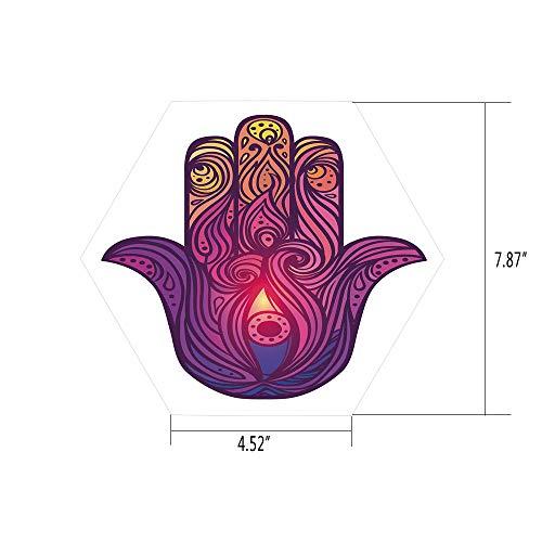 (Hexagon Wall Sticker,Mural Decal,Hamsa,Vivid Floral Swirls Symbol of Aura Energy Flow Harmony Health Doodle,Violet Light Pink Peach,for Home Decor 4.52x7.87 10 Pcs/Set)