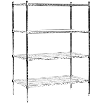 salsbury industries stationary wire shelving unit 48 inch wide by 63 inch high by. Black Bedroom Furniture Sets. Home Design Ideas