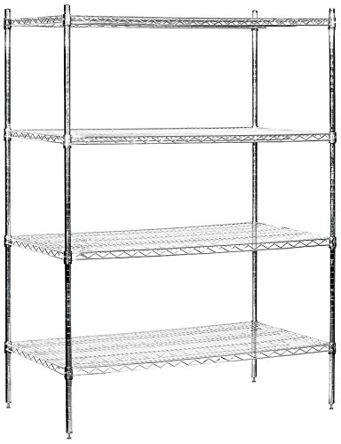 Salsbury Industries Stationary Wire Shelving Unit, 48-Inch Wide by 74-Inch High by 24-Inch Deep, Chrome