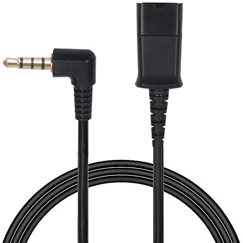 Headset QD (Quick Disconnect) Cable with Single 3.5mm Plug for Smartphones Mobile Phones,Laptop etc with 3.5mm Jack ()