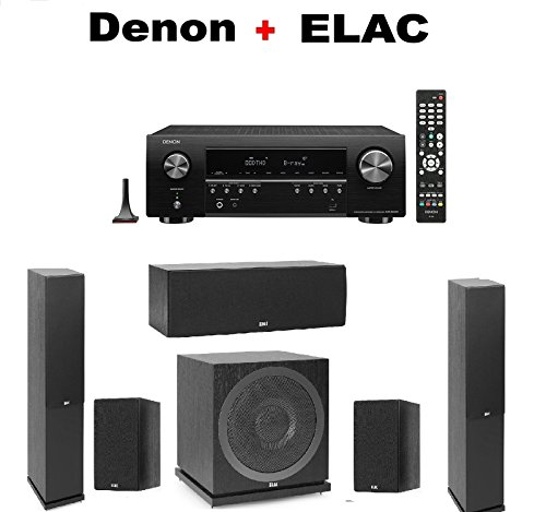 Denon AV Component Receiver (AVRS640H) + Pair of Elac F5.2 Floorstanding Tower + ELAC C5.2 Center Speaker + ELAC B5.2 Bookshelf (Pair) + ELAC SUB3010 Subwoofer - Speakers Denon Consumer