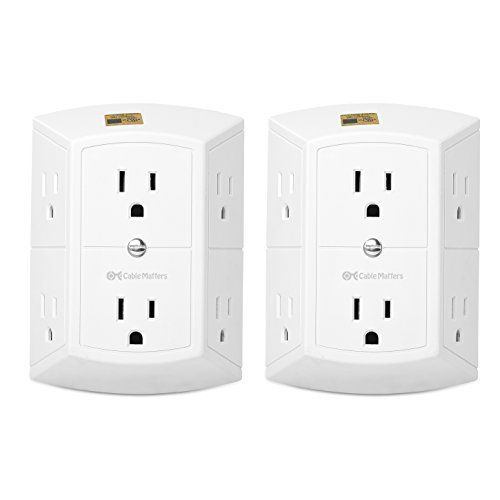 Cable Matters 2-Pack Three Sided 6 Outlet Wall Tap (6 Outlet Wall Adapter/Multi Outlet Plug)