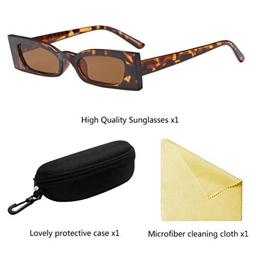 Definición Pequeño Protección de Vintage UV Gafas Alta Zhhlaixing de Sol Marco Brown Lentes Cuadrado ZWIAUq4