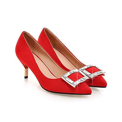 AgooLar Damen Spitz Zehe Ziehen auf PU Eingelegt Mittler Absatz Pumps Schuhe, Rot, 42