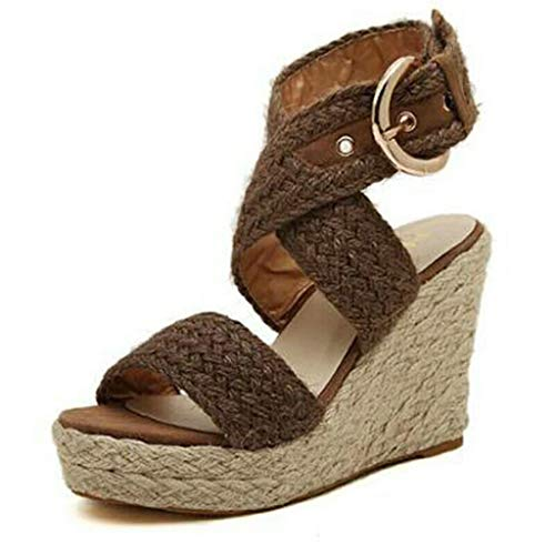 Fitfulvan Women's Wedges Buckle Sandals Casual Shoes Roman Shoes Cool Shoes Summer Woven Platform Sandals Brown