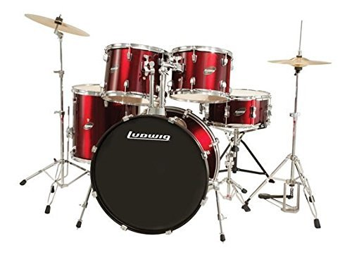 Ludwig Accent Fuse Wine Red Sparkle 5-Piece Drum Set (Includes Hardware, Throne, Pedal, Cymbals, Sticks and Drum Key) ()
