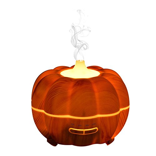 YoShine 300ml Pumpkin Lantern Aroma Diffuser,Aromatherapy Essential Oil Diffuser with Pumpkin Lamp Design,Cool Mist Humidifier,Fragrance Diffuser with Pumpkin Light for Halloween (Shallow Wood (Cool Halloween Pumpkins Designs)