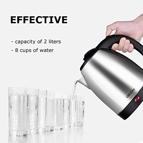 Dezin Electric Kettle Water Heater, 2L Stainless Steel Cordless Tea Kettle, Fast Boil, Auto Shut Off and Boil Dry Protection Tech – Base on SIDE Concept (Simple, Inexpensive, Dependable and Effective) by DEZIN (Image #5)