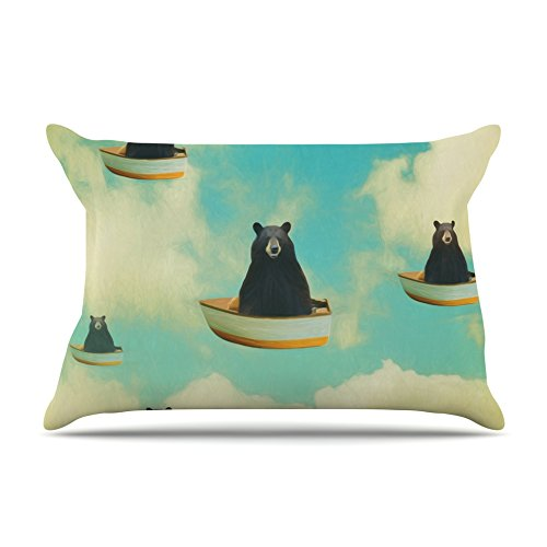 Kess InHouse Natt Bears Floating Animals Fleece Pillow Case 30 x 20
