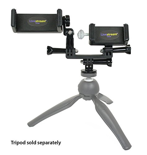 Livestream Gear - Dual Device Smartphone Mount Setup for Streaming or Video to Fit Standard & Large Sized Devices Like iPhone 6 Plus - Galaxy Note - Sport Cameras GoPro. (Dual Device Add-On)