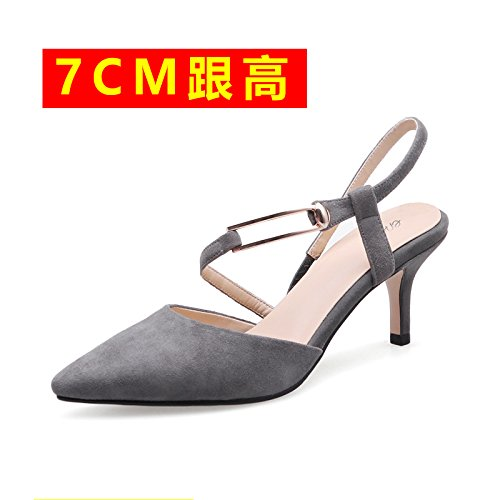 After The Heeled Elegant Sandals With High Shoes High Fine Baotou 7cm High Gray Spring Heeled Empty Pointed Sandals VIVIOO Shoes Heeled Women'S Shoes TwpqUS4